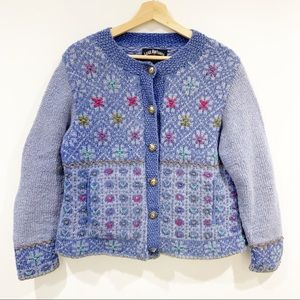 Lost Horizons Nepal hand knit wool floral cardigan